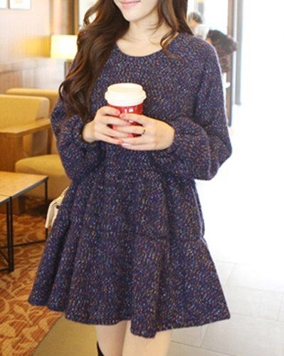 Blue Wool Flounce Dress £18 Available On Our Website  #love #winter #fashion #autumn