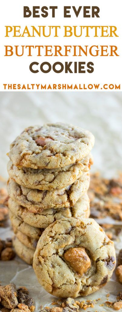 Easy Peanut Butter Cookies that are super soft and filled with Butterfinger pieces!