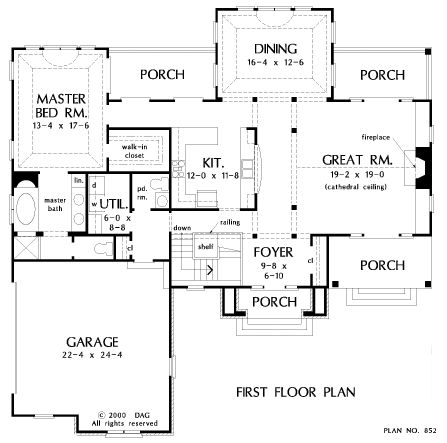Floorplan The Highlands House Plan #852-D strecth kitchen area, add pantry or mud room next to stairs