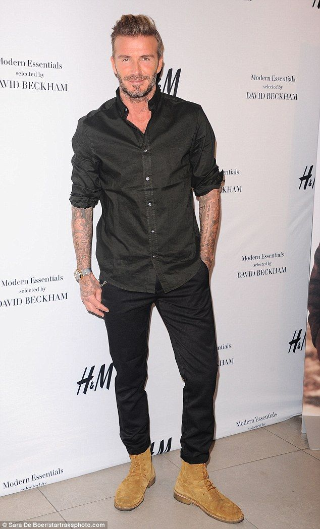 Handsome: David Beckham unveiled his clothing collection for H&M in Los Angeles on Monday afternoon