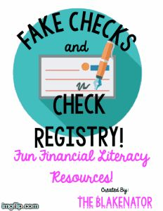 Fake Checks & Registry - Four Designs! {Fun Financial Literacy Resources} Great for career day or other fun end of the year activities! Four fun designs to choose from!