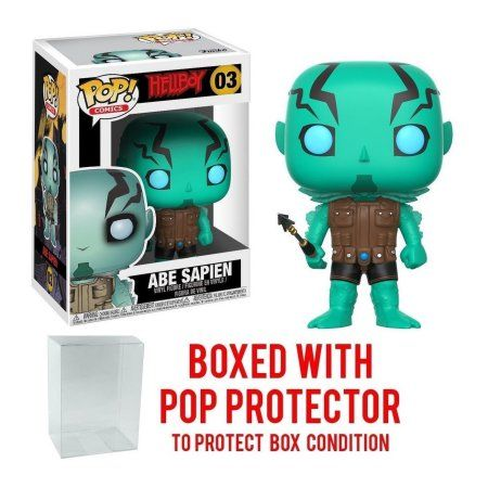 Hellboy Comic Abe Sapien Pop Vinyl Figure and (Bundled with PROTECTOR CASE), Bundled Plastic BOX PROTECTOR with the collector in mind (Removable Film) By Pop Figure
