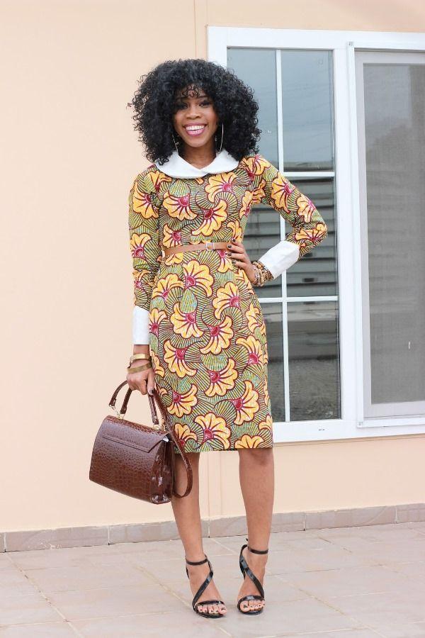 Si vous aimez les robes aux coupes simples et épurées, mais qui font habillés, vous apprécierez ce look de la bloggueuse nigériane Grâce Alex. Une robe fourreau bien coupée avec un col claudine blanc et des rebords de manche retroussés. On retrouve là un air des robes de la styliste Stella Jean. Vraiment réussi ! ...