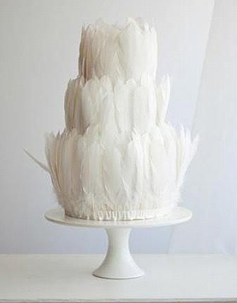 Events by Gia found this very unique Wedding Cake!  (We think they're real Feathers!)