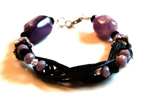 Purple and black bead and wax cord bracelet by personal2treasures