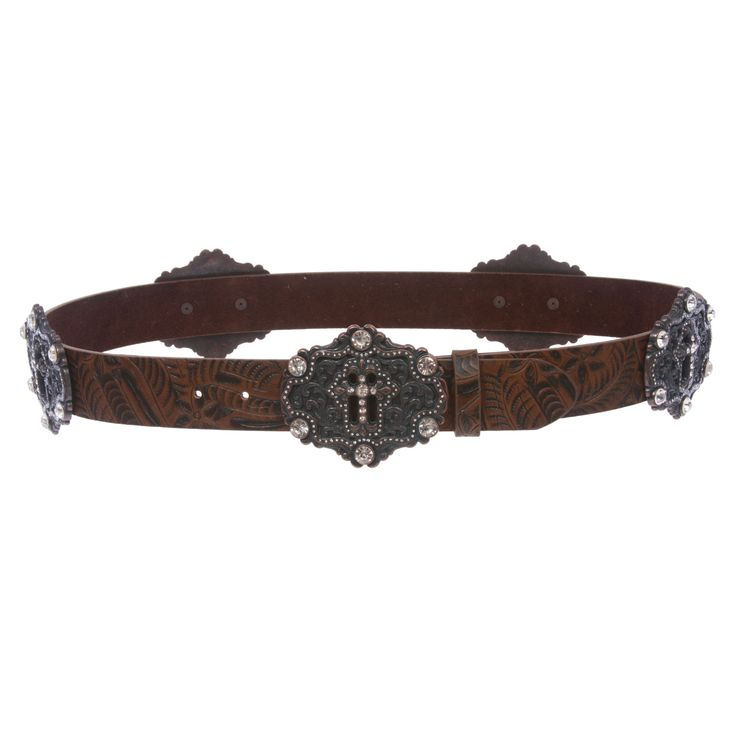 Snap On Floral Embossed Leather Rhinestone Cross Bling Belt