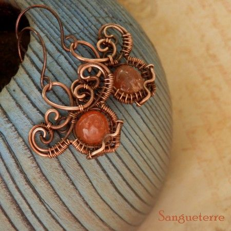 Sól * dawn earrings  * sparkling sunstone, copper  * wire wrap * wirewrapping * wire artisan * handmade * wire * work * wirewrapped * wired