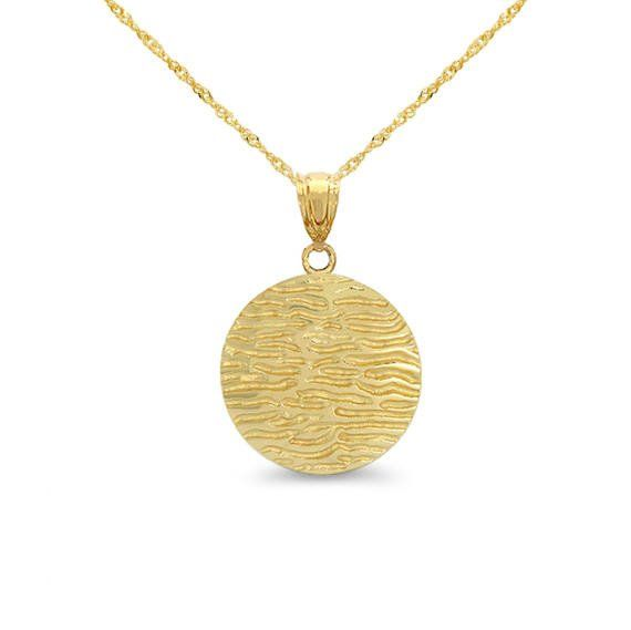 "14k solid gold fancy disc pendant on 18"" solid 14k gold chain. animal print pendant."