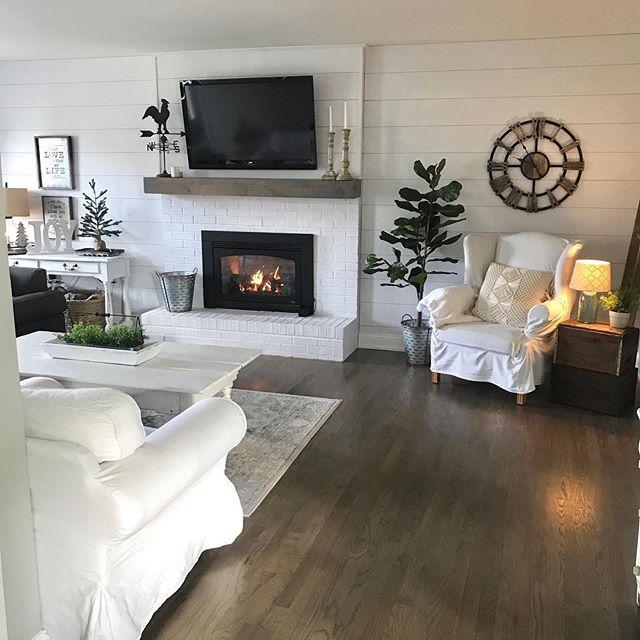 farmhouse decor, shiplap wall, fireplace decor, wh…