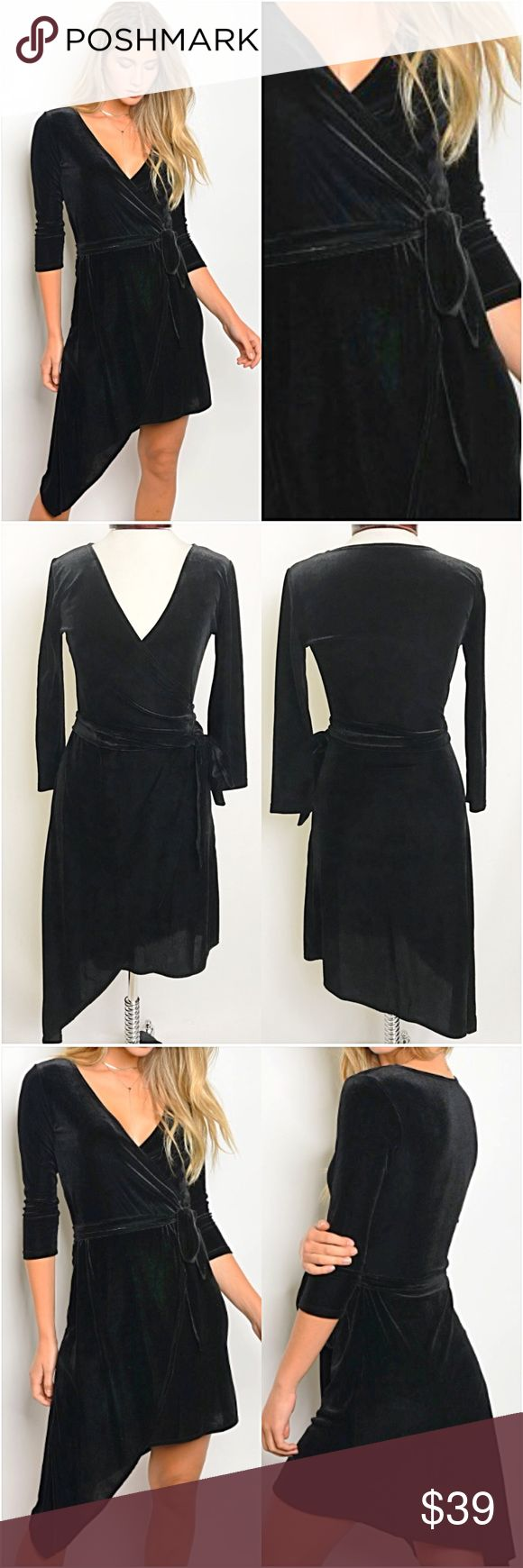 """Gorgeous Black VELVET LBD Wraparound Dress SML Velvet wraparound LBD perfect for your holiday parties. 3/4 sleeves - fitted but stretchy - v-neck - asymmetrical hemline - partial wrap around tie at waist. WOW!  96% polyester- 4% spandex Model is a XS wearing a small for reference - If between sizes, go up a size  Small (fits XS-Small) Bust 32-34 Length 36"""" Med (Fits S-M) Bust 34-36 Length 36.5"""" Large ( Fits M-L) Bust 36-38 Length 37"""" Dresses"""
