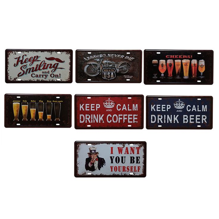 Vintage Plate Style Metal Signs Picture for Home Living Room KTV Coffee Bar Wall Art Decor Retro Iron Painting Wall Stickers