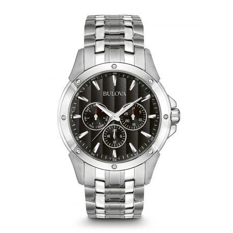 Reloj Bulova bisel con detalles de tornillos  Modelo 96C107