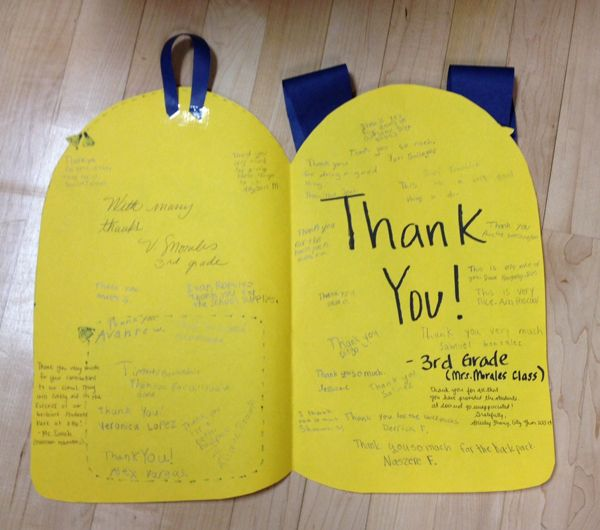 A creative thank you note written by the students of Father Keith B. Elementary in Sacramento for the Buick GMC dealers who gave them backpacks filled with school supplies.