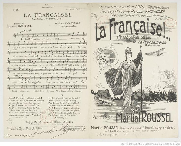 La Française !... : chanson patriotique : air de La Marseillaise (2e éd. avec musique) / musique adaptée ; paroles de Martial Roussel   Gallica