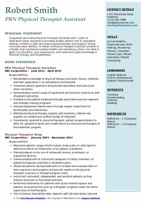 23 Physical therapist assistant Resume Examples in 2020