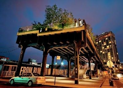 NYC Vintage: National Geographic: NYC's Lush High Line Park By Night Entrance to High Line Park at Gansevoort Street in Greenwich Village