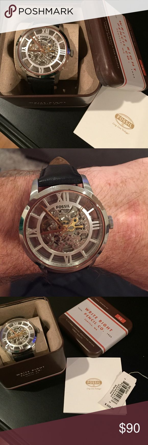 Skeleton face fossil watch Great Christmas present! Men's skeleton face fossil watch. Black leather band. Does not require batteries. Runs on perpetual motion. Absolutely nothing wrong. No scratches. Worn a few times. With original box and tag. Fossil Accessories Watches