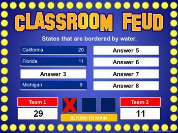 "Create your own ""Family Feud"" style review game! Great alternative to Jeopardy"
