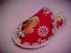 Christmas Cards Slipper. Crochet around slipper pieces to put it together.