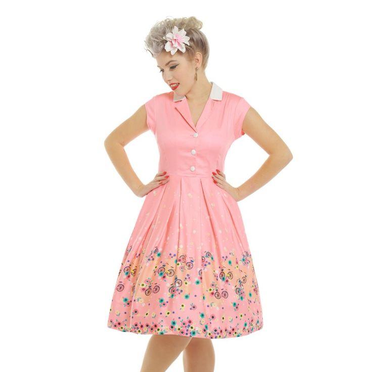 Růžové retro šaty Lindy Bop Gilda s bicykly