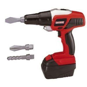 """My First Craftsman Power Drill by Craftsman. $34.99. This motorized Craftsman toy drill with realistic drilling sounds and a simulated LED light for working in dark areas. Pull the trigger and the bit spins forward or reverse, complete with a working LED light, lock and removable battery pack. Includes (3) interchangeable drill bits. Requires (2) """"AA"""" 1.4V batteries (included). Ages 3+"""