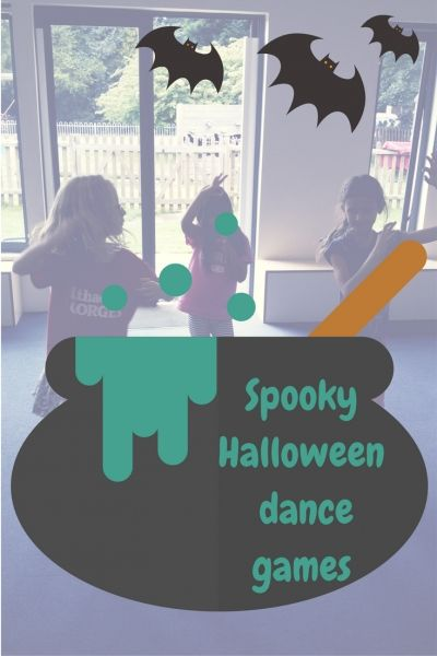 Halloween themed dance games inspired from yoga poses. Perfect for a preschool dance class or a kids Halloween party!