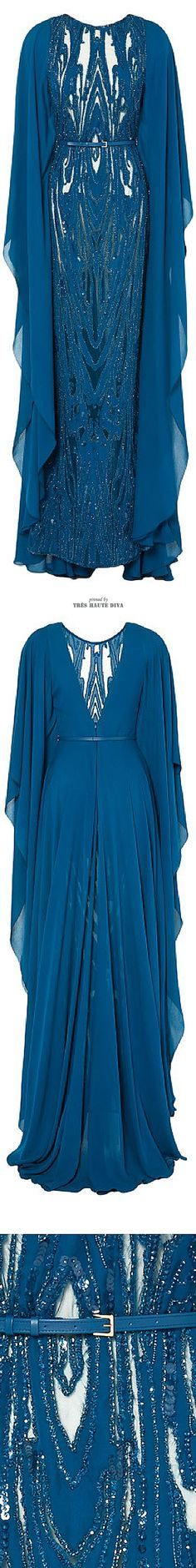 Ellie Saab Embroidered Blue Double Silk Georgette Butterfly Sleeve Gown ♔ SS 2015: