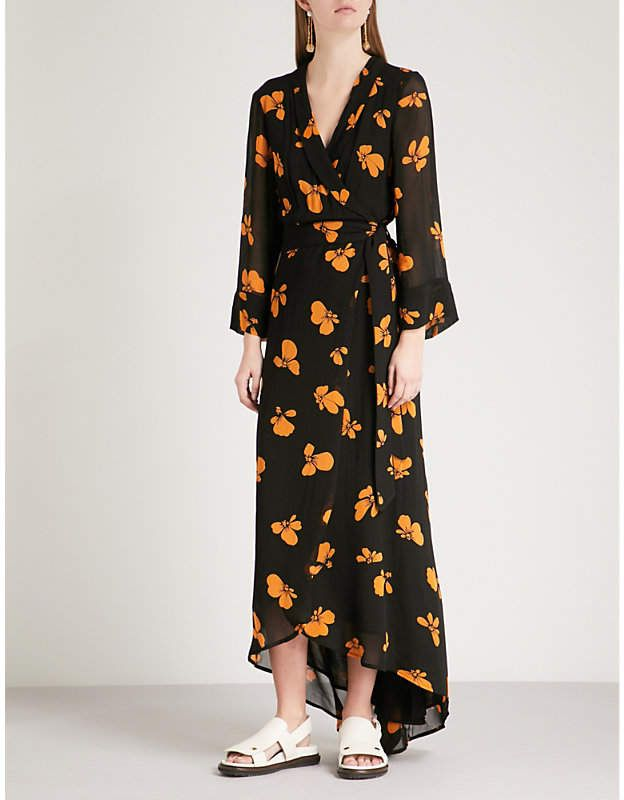 5c2a40b266 Ganni Fairfax floral-print georgette wrap dress