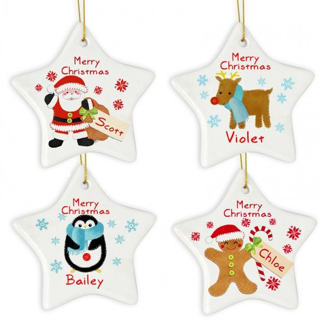 personalised christmas baubles, ceramic stars, choose from 4 designs for 2014