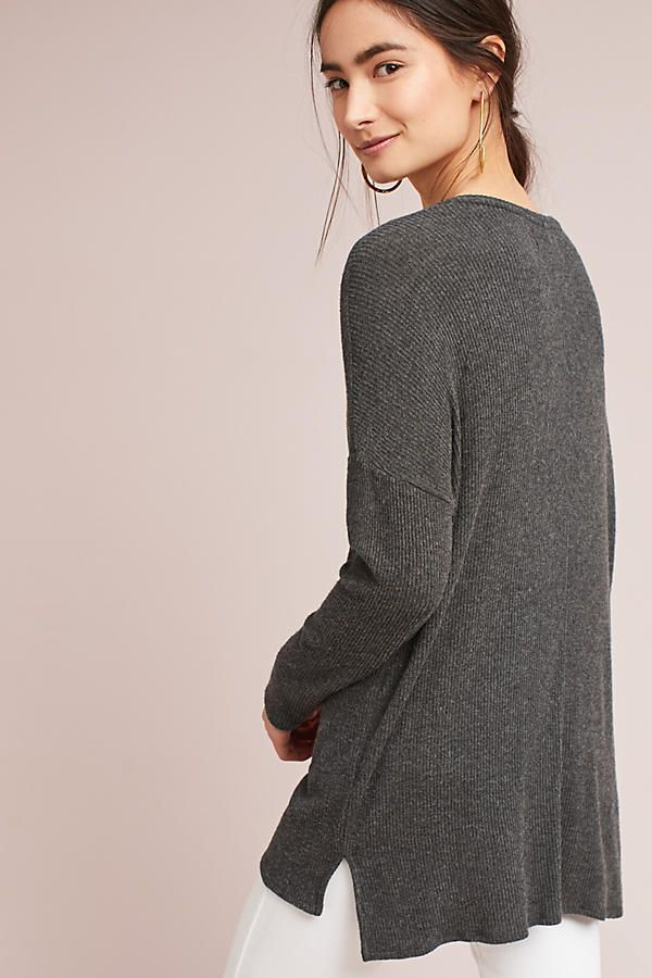 Slide View: 3: Ribbed Boat Neck Tunic