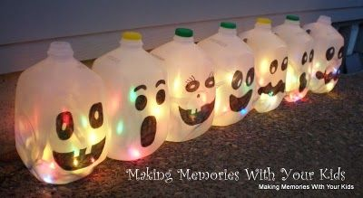 Ghost milk jug lights: Glow Sticks, Halloween Decor, Crafts Ideas, Halloween Milk Jug, Milk Jug Ghosts, Christmas Lights, Halloween Crafts, Milk Cartons, Milkjug