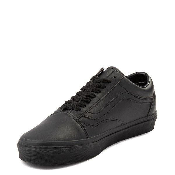 all black leather vans old skool