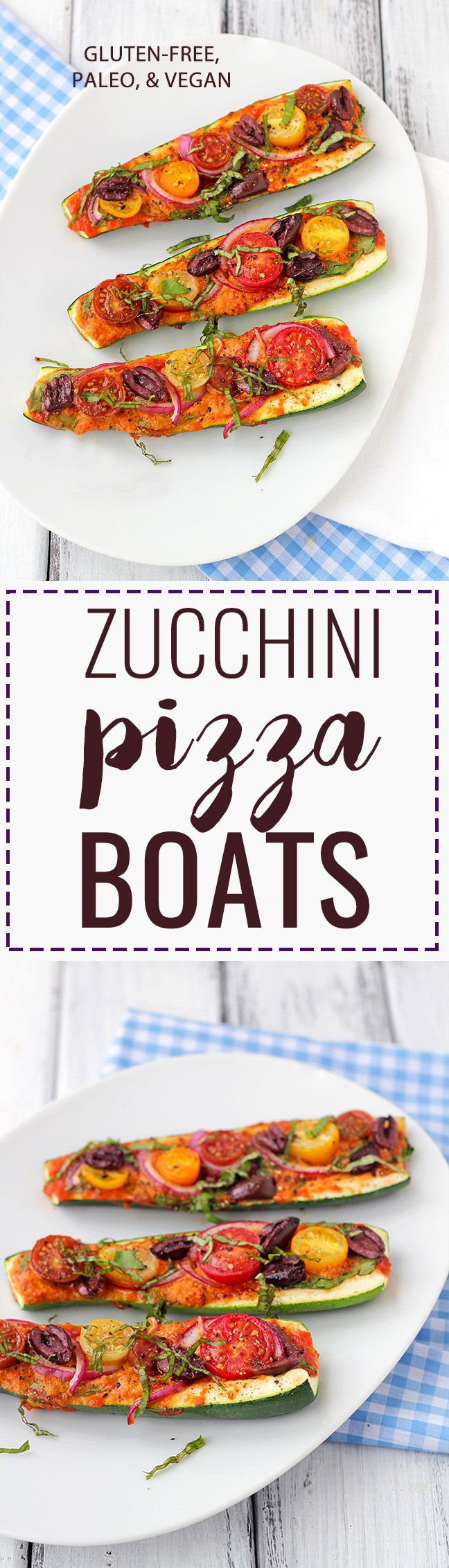 Zucchini Pizza Boats Recipe: A delicious, grain-free and dairy-free way to enjoy pizza! Paleo & vegan!