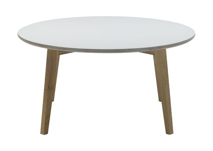 Isabel - Sofabord med hvid laminat. Dia 90 cm. Fra Ilva