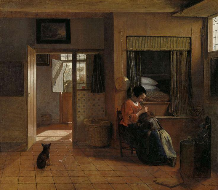 Binnenkamer met een moeder die het haar van haar kind reinigt, bekend als 'Moedertaak', Pieter de Hooch, 1658