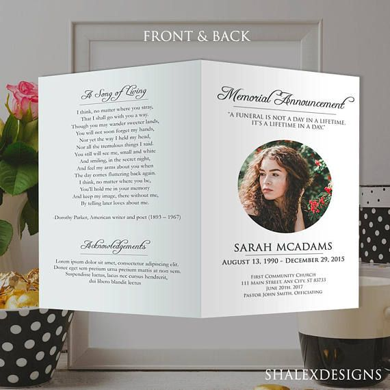 White Funeral Program Template Photoshop Psd Instant Download In 2021 Funeral Program Template Memorial Cards Funeral Programs