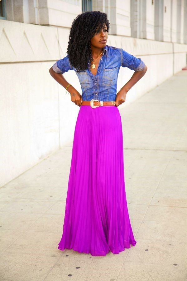nice denim maxi skirt outfit