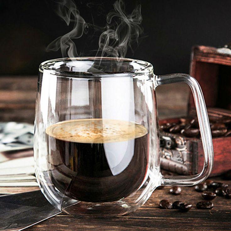 Premium Hand-Blown Glass Coffee Cup - 8.4oz