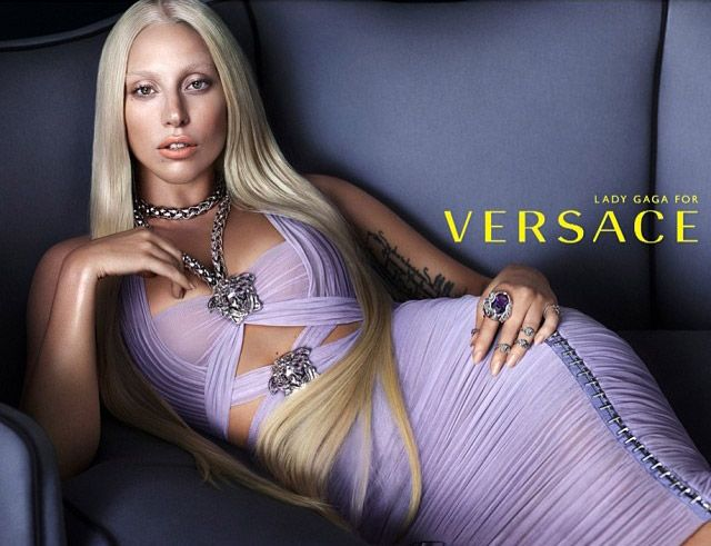 Lady Gaga Channels Donatella for Versace's Spring 2014 Campaign