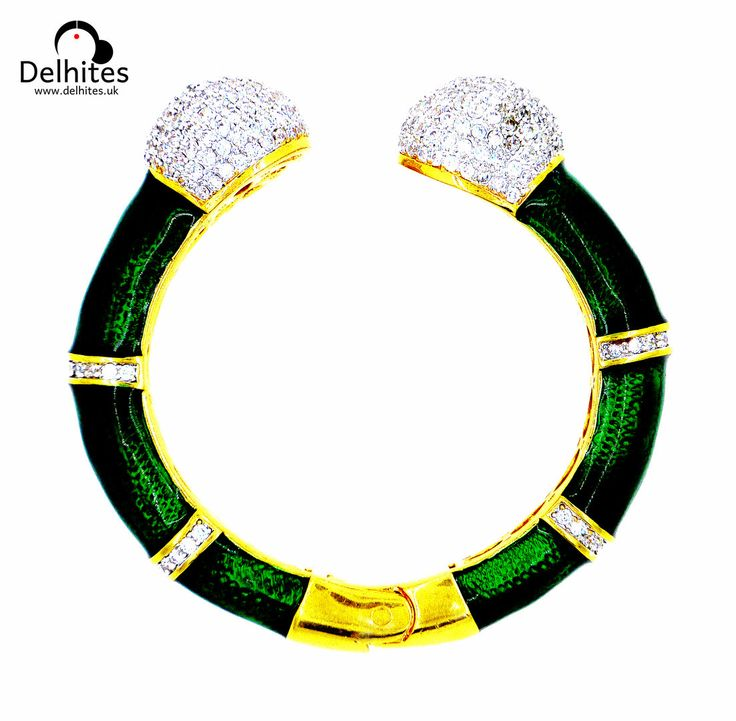Kalapi: 22 Carat Gold Plated Hinged Bangle with Cubic Zirconia