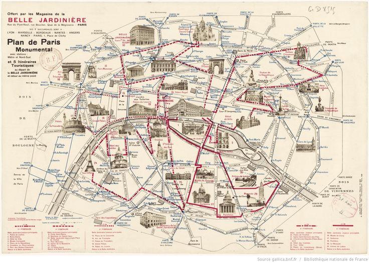 Plan de Paris monumental avec... 5 itinéraires touristiques au départ de la Belle Jardinière...