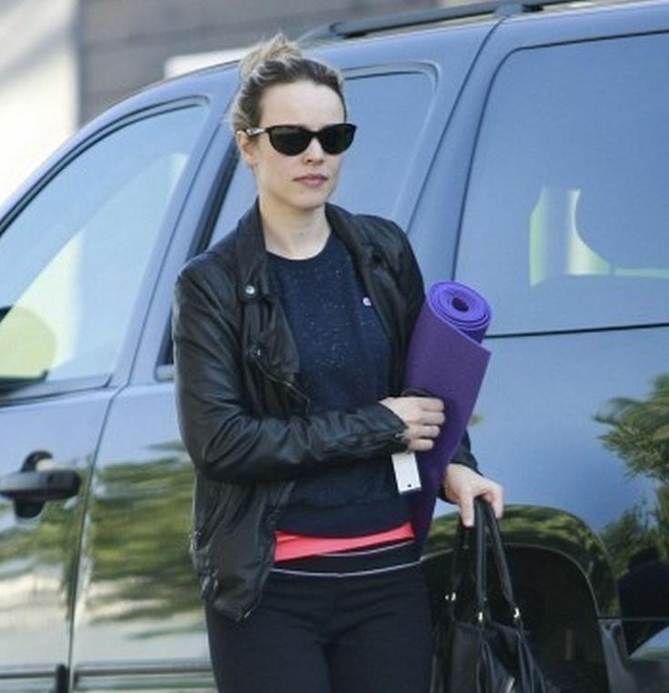 Rachel Mcadams Wears A Black Leather Jacket Wearing