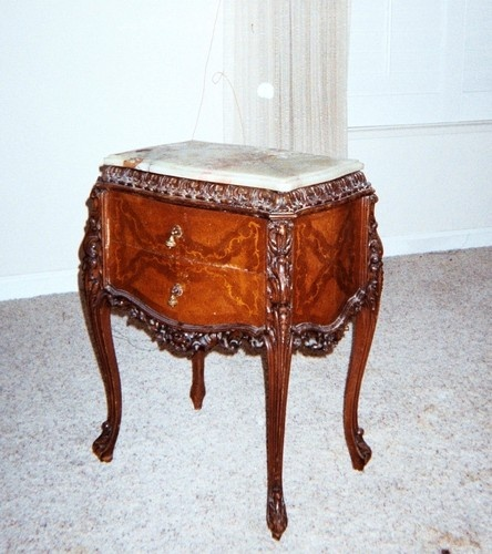 Antiqued Marble Countertops: Pair Of Antique Marble Top Carved Nightstands. French