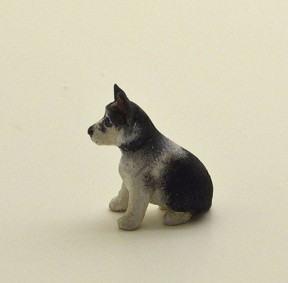 Miniature OOAK hand carved wood tiny Husky puppy in a little by miraclechicken | Etsy