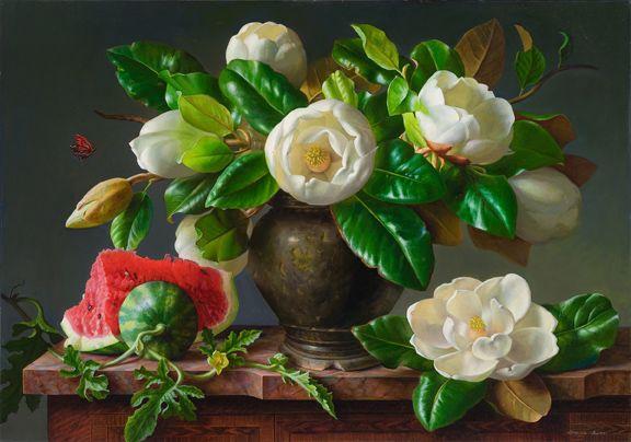 grace_kim_-butterfly-magnolia-and-watermellon_24x30_oil-on-linen_72.jpg (576×404)