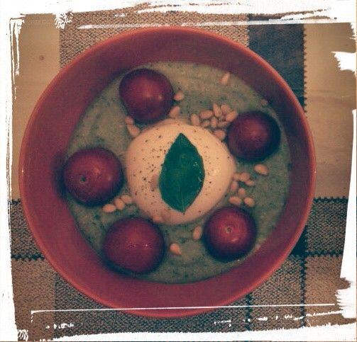 @Locanda del Vento: zucchini soup with mozzarella di bufala and cherry tomatoes