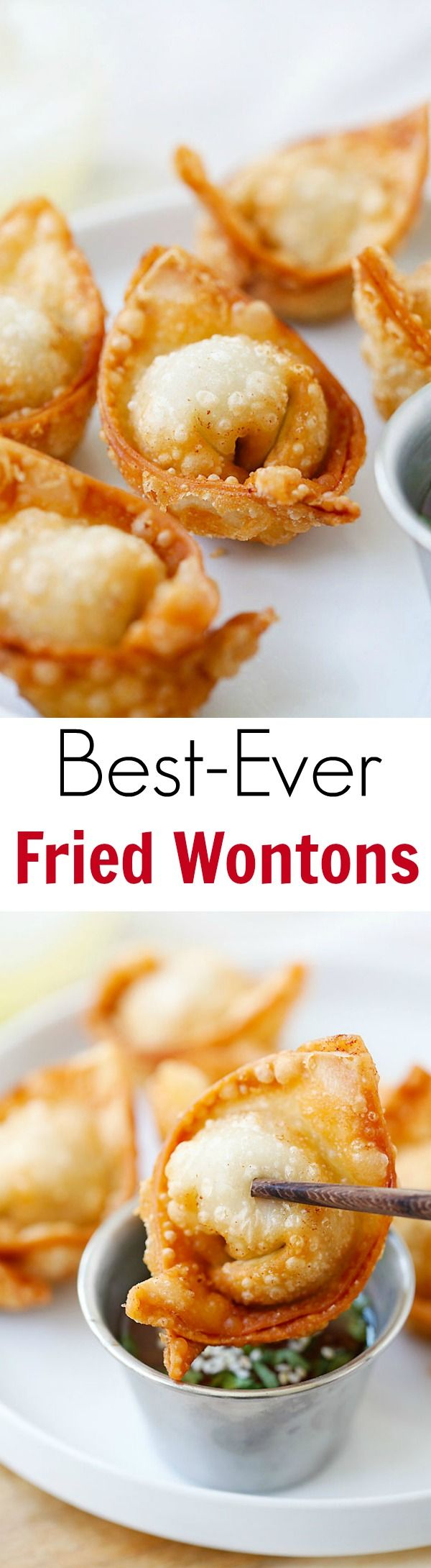 Fried wontons – the BEST fried wontons!! Super crispy and delicious, learn how to make fried wontons with this easy recipe!! | rasamalaysia.com