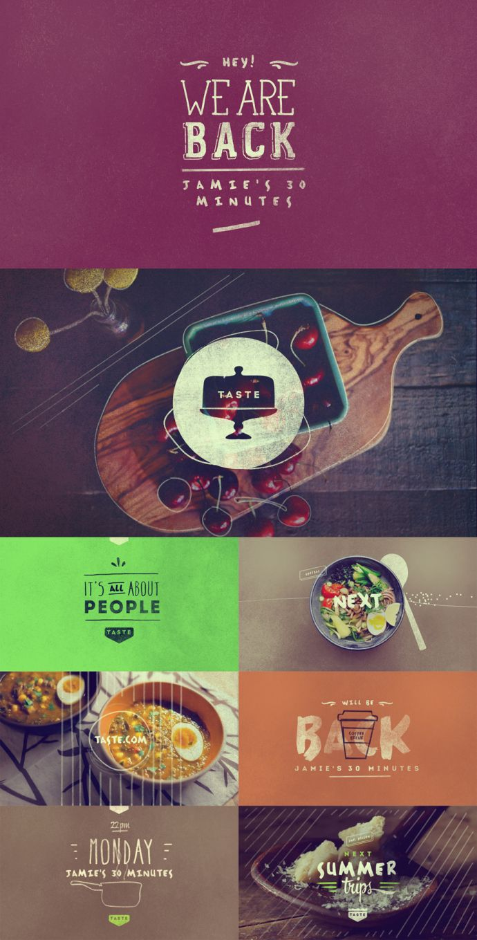 Good food graphic design.Like this color tone.
