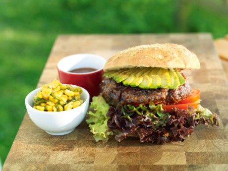 Hamburger with corn, avocado and chili glaze