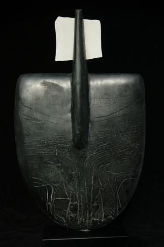 Peter Hayes: Black Figure. ceramic, porcelain, natural patina h 25 w 12.5 d 4 inches